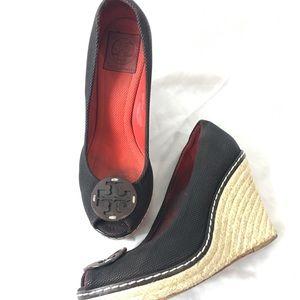 Tory Burch Wedge Sandals Sz 9.5 Black Espadrilles